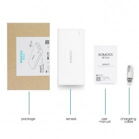 Romoss Sense 6 Power Bank 2 Port 20000mAh (ORIGINAL) - White - 9