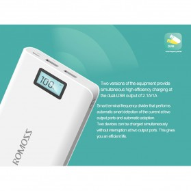 Romoss Sense 6 Plus Power Bank LCD 2 Port 20000mAh (ORIGINAL) - White - 7