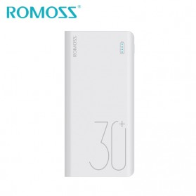 Romoss Sense 8+ Power Bank USB Type C Lightning 3 Port 30000mAh Quick Charge 3.0 (ORIGINAL) - White