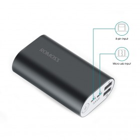 Romoss A10 Power Bank 2 Port Lightning Micro USB 10000mAh (ORIGINAL) - Gray - 2