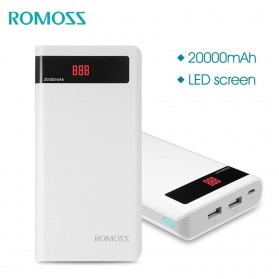 Romoss Sense 6P Power Bank LCD 2 Port 20000mAh (ORIGINAL) - White