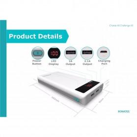 Romoss Sense 6P Power Bank LCD 2 Port 20000mAh (ORIGINAL) - White - 4