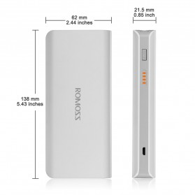 Romoss Sense 4 Mini Power Bank 10000mAh Polymer Battery (Replika 1:1) - White - 7