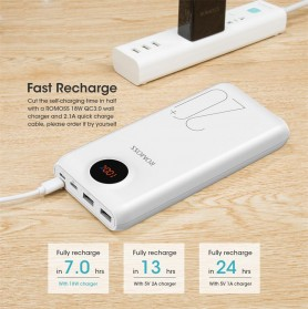 Romoss SW20 Pro Power Bank USB Type C + Lightning + Micro USB Input Port 20000mAh - White - 5