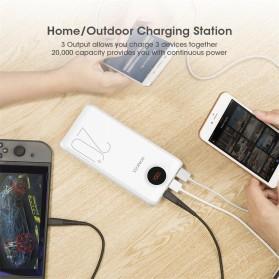 Romoss SW20 Pro Power Bank USB Type C + Lightning + Micro USB Input Port 20000mAh - White - 6