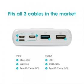 Romoss SW20 Pro Power Bank USB Type C + Lightning + Micro USB Input Port 20000mAh - White - 7
