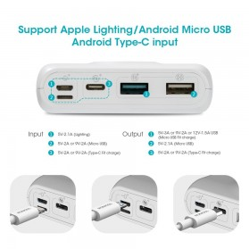 Romoss SW20 Pro Power Bank USB Type C + Lightning + Micro USB Input Port 20000mAh - White - 9