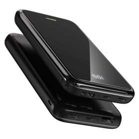 Remax Mirror Qi Wireless Charging Power Bank 2 Port 10000mAh - RPP-133 - Black