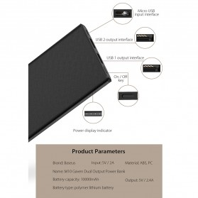 Baseus Gaven Series Power Bank Dual Output 10000mAh - M10 - Black - 4