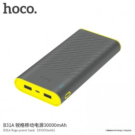 Baterai & Charger - HOCO B31 Rege Power Bank 2 Port 20000mAh - Gray