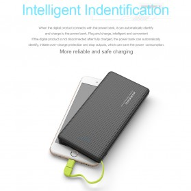 Pineng Power Bank Built-in Micro USB Cable 10000mAh with Lightning Adapter - PN-951 - Black - 8