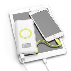 Pineng Qi Wireless Charging Power Bank Built-in Micro USB Cable 10000mAh QC3.0 - PN-888 - White - 4