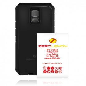 ZeroLemon Zero Shock Samsung Galaxy S5 Battery Charging Case 8500mAh with NFC & Belt Clip Holster - Y332 - Black