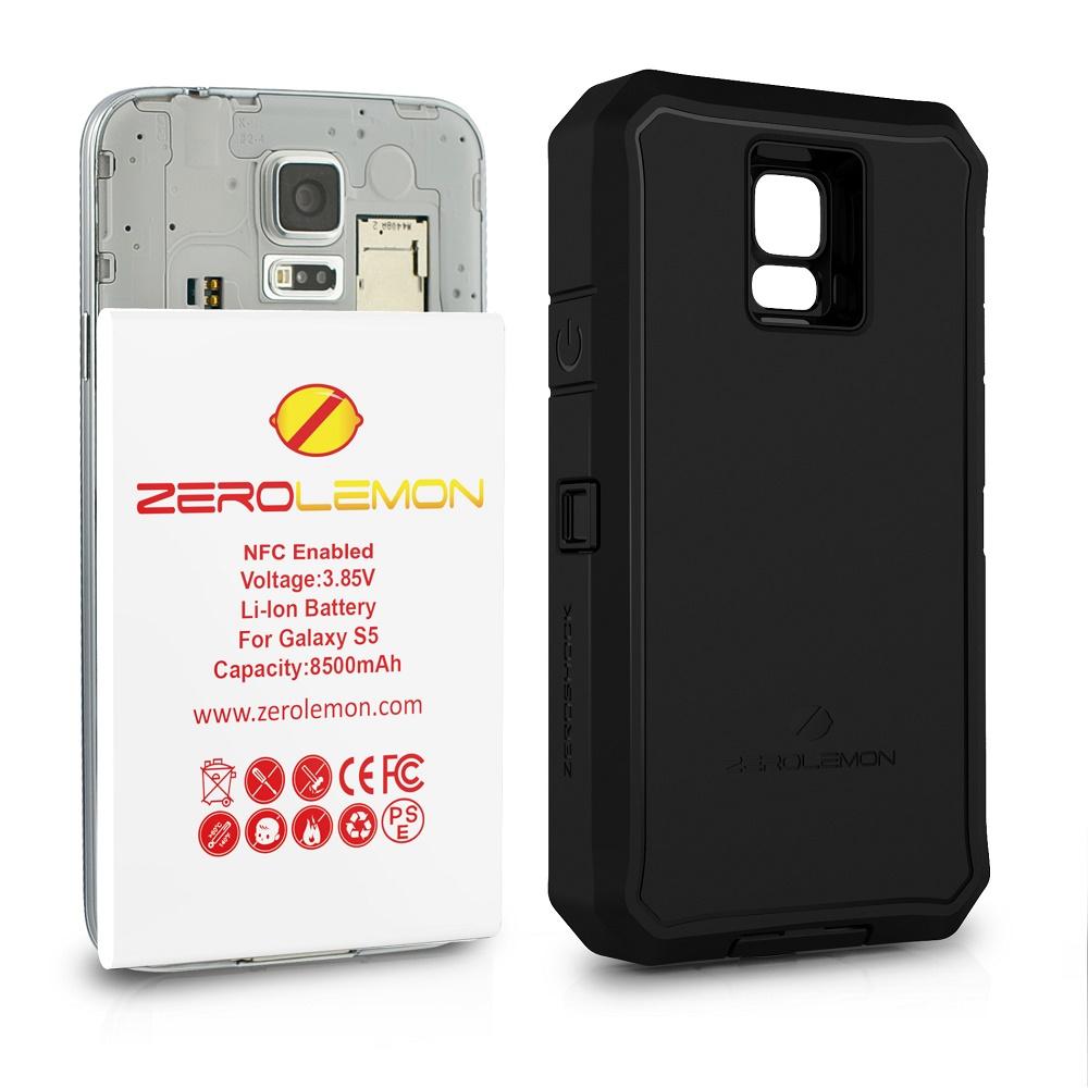 uk availability 1d3e4 73d46 ZeroLemon Zero Shock Samsung Galaxy S5 Battery Charging Case 8500mAh with  NFC & Belt Clip Holster - Y332 - Black