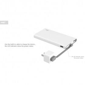Hame QC1 Power Bank 2 Port 10000mAh Qualcomm Quick Charge 2.0 - White - 7