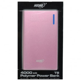 Hame T8 Power Bank 2 Port 4000mAh - Pink - 5
