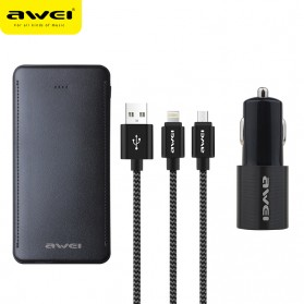 Awei 3 in 1 Power Bank 10000mAh + Kabel Lightning Micro + Car Charger 2 Port USB - X15 - Black