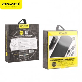 Awei 3 in 1 Power Bank 10000mAh + Kabel Lightning Micro + Car Charger 2 Port USB - X15 - Black - 6