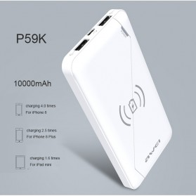 Awei Qi Wireless Charging Power Bank 2 Port 10000mAh - P59K - Black - 5