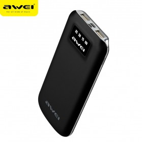 Awei Power Bank 2 Port 10000mAh with Lightning Input Port - P50K - Black