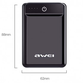 Awei Power Bank 2 Port 10000mAh - P54K - Black - 7