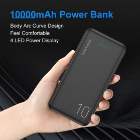 Powerbank - Floveme Power Bank Portable Charger 2 Port 10000mAh - FLD1864 - Black