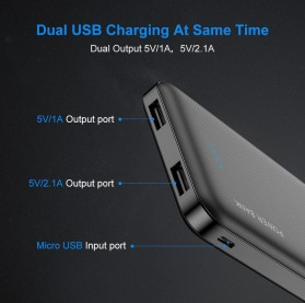 Floveme Power Bank Portable Charger 2 Port 10000mAh - FLD1864 - Black - 7