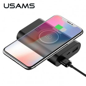 USAMS Qi Wireless Charging Pad 2 Port 2A Power Bank 8000mAh - Black - 1
