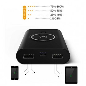 USAMS Qi Wireless Charging Pad 2 Port 2A Power Bank 8000mAh - Black - 2