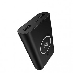 USAMS Qi Wireless Charging Pad 2 Port 2A Power Bank 8000mAh - Black - 3