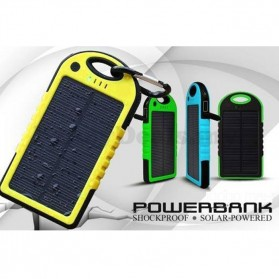 Solar Waterproof Power Bank 5000mAh - Yellow with Black Side - 1