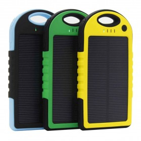 Solar Waterproof Power Bank 5000mAh - Yellow with Black Side - 2