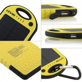 Solar Waterproof Power Bank 5000mAh - Yellow with Black Side - 8