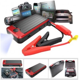 VIGORTHRIVE Portable 13600mAh 12V/5V Dual USB Power Bank, Car Jump Starter & Flashlight - DY05 - Black/Red - 7