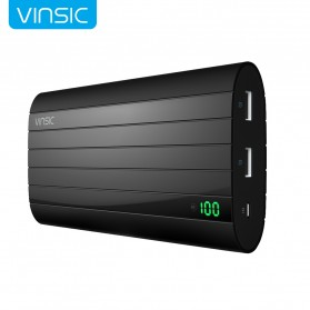 Vinsic IRON Power Bank LED Display Indicator Dual USB Port 20000mAh - P6 - Black