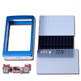 ROVTOP Power Bank DIY Tenaga Solar dengan Lampu LED - 4NB1 - Blue