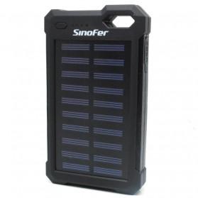 Power Bank 2 USB 12000mAh with Solar Panel - Black - 2