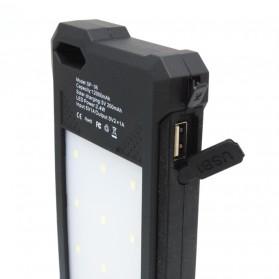 Power Bank 2 USB 12000mAh with Solar Panel - Black - 5
