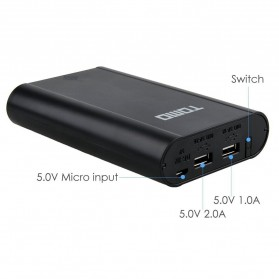 TOMO M4 DIY Power Bank Case 2 USB Port - Black - 5