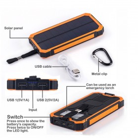 ALLPOWERS Solar Power Bank 2 USB Port 20000mAh - ES100 - Orange - 3