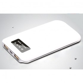 Portable Power Bank LCD Indicator 2 Port 5000mAh - White