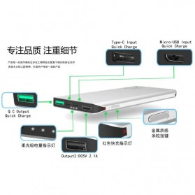 Sinofer Power Bank Ultra Thin Dual USB Port 10000mAh QC 3.0 - SP-18F - Black - 6