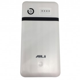 AILI DIY Exchangeable Cell Power Bank Case 2 Port USB For 6 PCS 18650 - White/Black