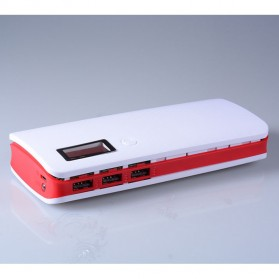 DIY Power Bank Case 3 USB Port with LCD Display - X5 - White/Red - 3