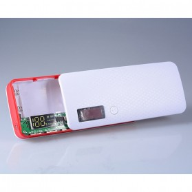 DIY Power Bank Case 3 USB Port with LCD Display - X5 - White/Red - 4