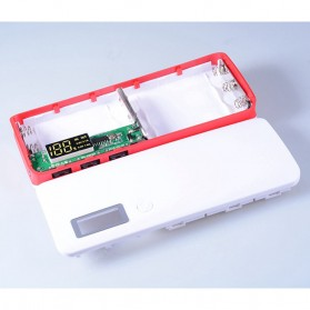 DIY Power Bank Case 3 USB Port with LCD Display - X5 - White/Red - 5