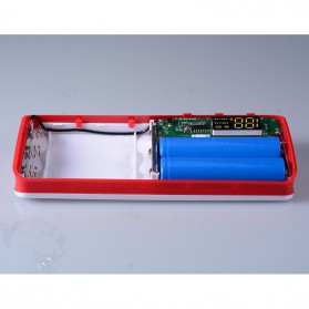 DIY Power Bank Case 3 USB Port with LCD Display - X5 - White/Red - 7