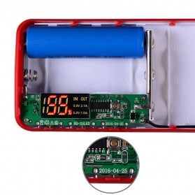DIY Power Bank Case 3 USB Port with LCD Display - X5 - White/Red - 8