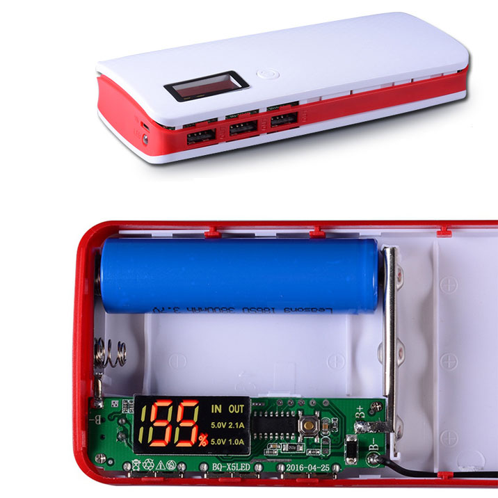 Diy Power Bank Case 3 Usb Port With Lcd Display X5 White Red Jakartanotebook Com