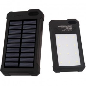 Sinofer Power Bank 2 USB 12000mAh with Solar Panel - SP-06 - Black